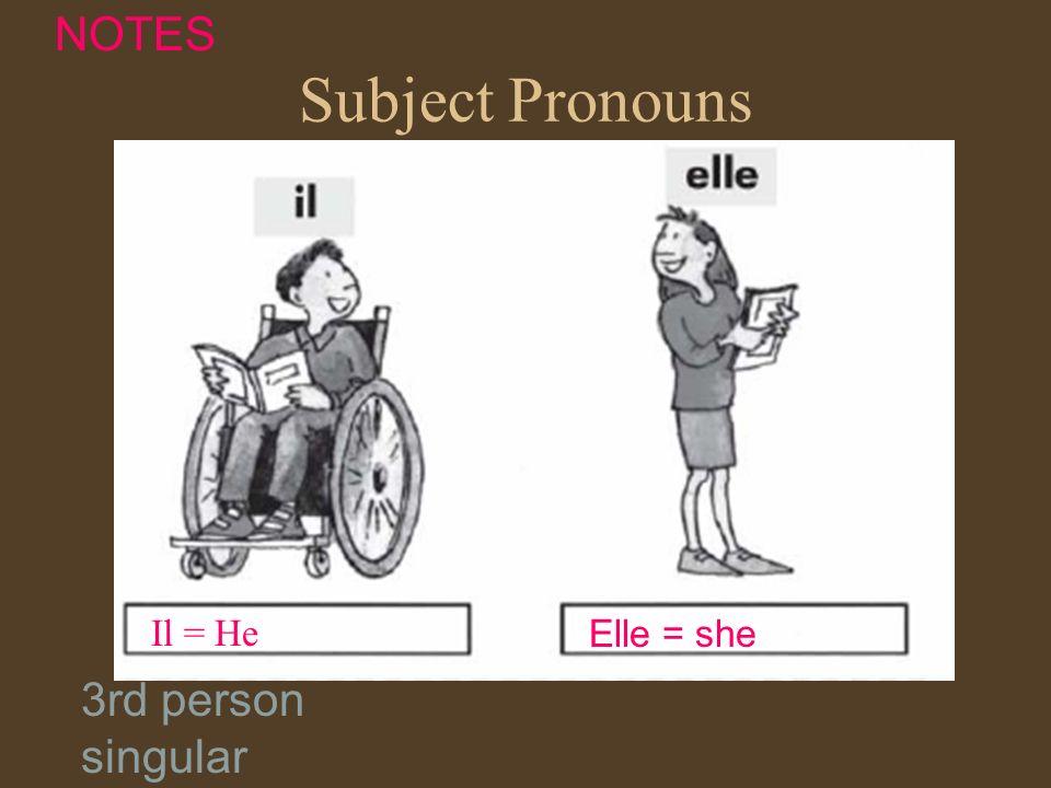 Subject Pronouns Il = He Elle = she NOTES 3rd person singular