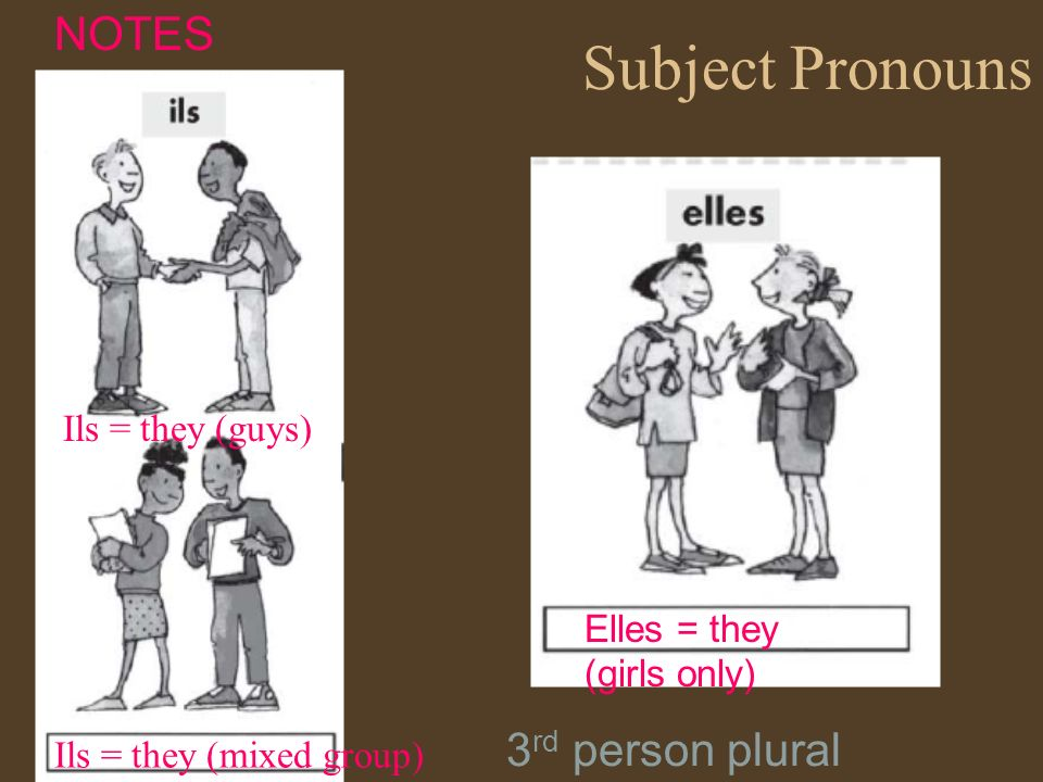 Subject Pronouns Ils = they (guys) Elles = they (girls only) NOTES Ils = they (mixed group) 3 rd person plural