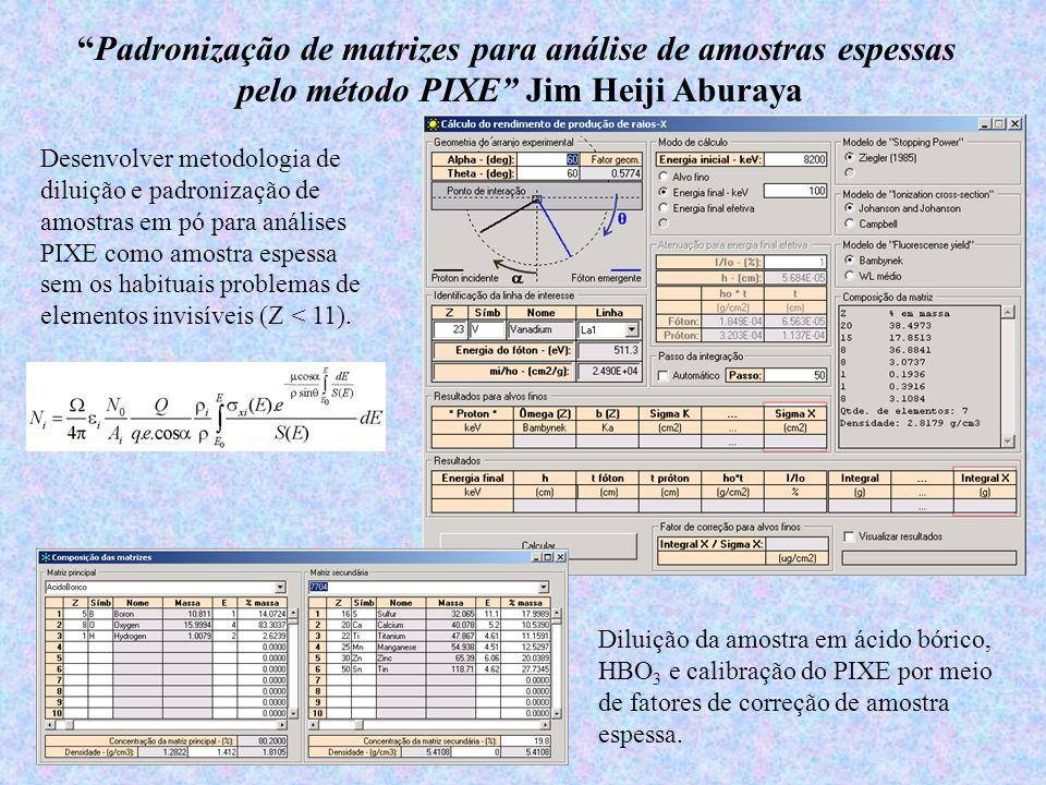 Padronização de matrizes para análise de amostras espessas pelo método PIXE Jim Heiji Aburaya Desenvolver metodologia de diluição e padronização de am