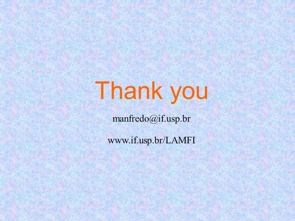 Thank you manfredo@if.usp.br www.if.usp.br/LAMFI