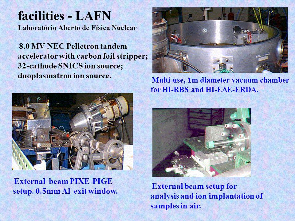 facilities - LAFN Laboratório Aberto de Física Nuclear 8.0 MV NEC Pelletron tandem accelerator with carbon foil stripper; 32-cathode SNICS ion source;