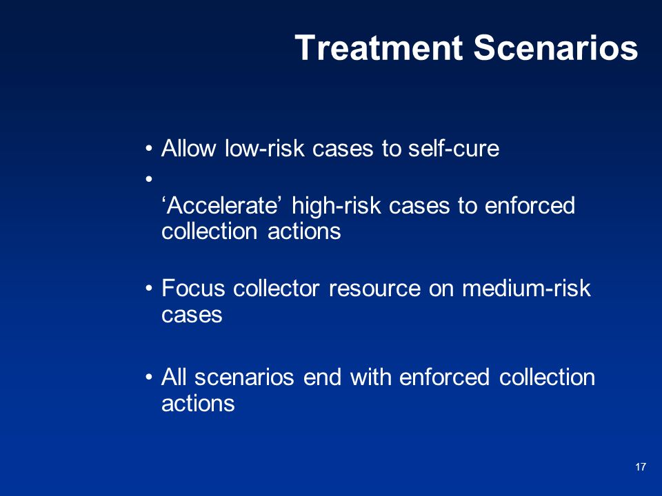 17 Treatment Scenarios Allow low-risk cases to self-cure Accelerate high-risk cases to enforced collection actions Focus collector resource on medium-