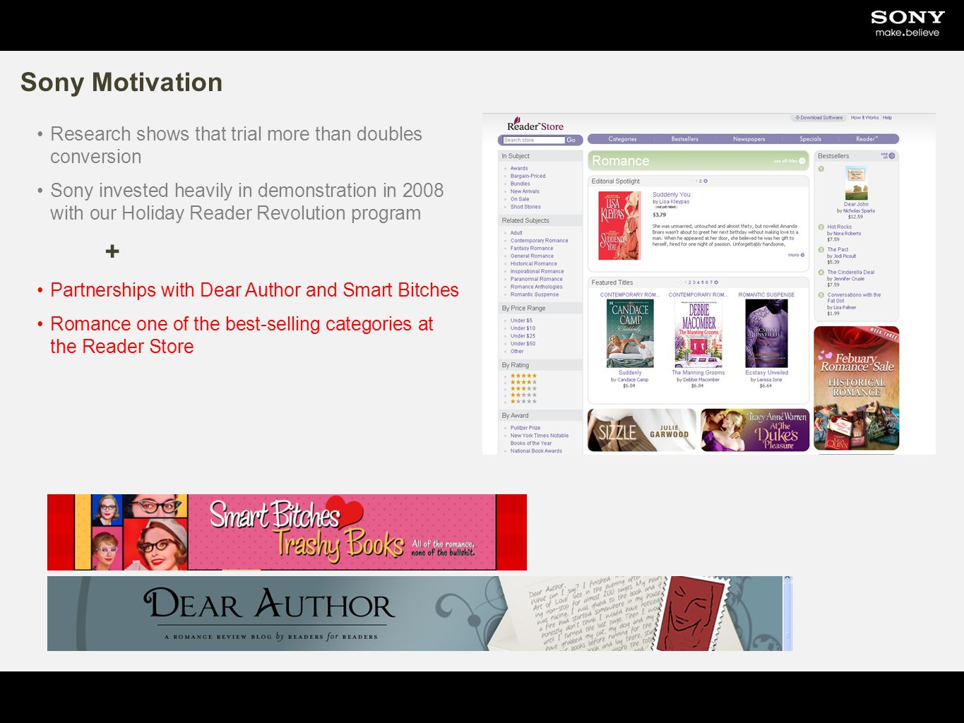Sony Motivation Research shows that trial more than doubles conversion Sony invested heavily in demonstration in 2008 with our Holiday Reader Revolution program + Partnerships with Dear Author and Smart Bitches Romance one of the best-selling categories at the Reader Store