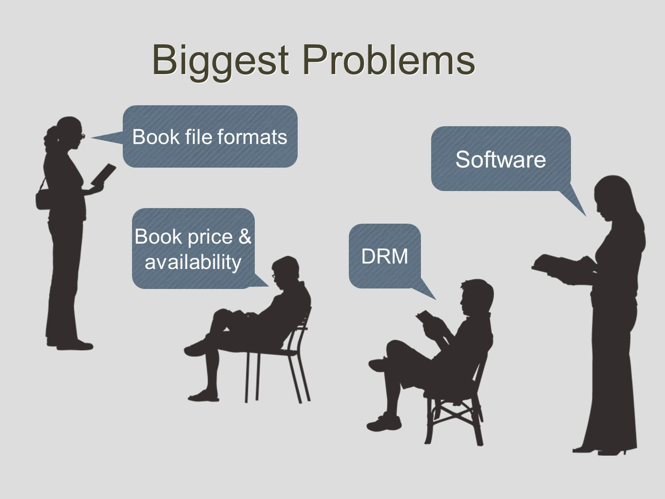 Biggest Problems Software DRM Book file formats Book price & availability