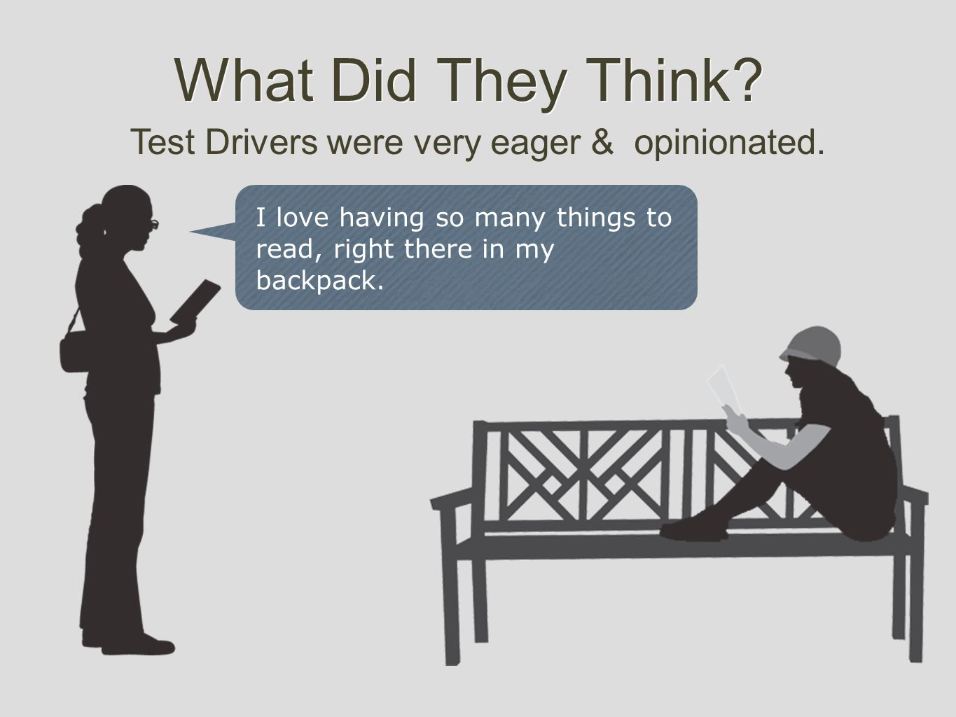 What Did They Think. Test Drivers were very eager & opinionated.