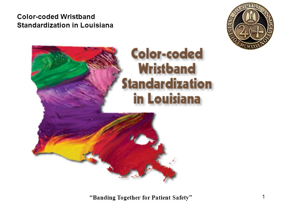 Banding Together for Patient Safety 32 Color-coded Wristband Standardization in Louisiana Staff Education SCRIPT for any staff person talking to a patient or family What is a Color-coded Alert Wristband.