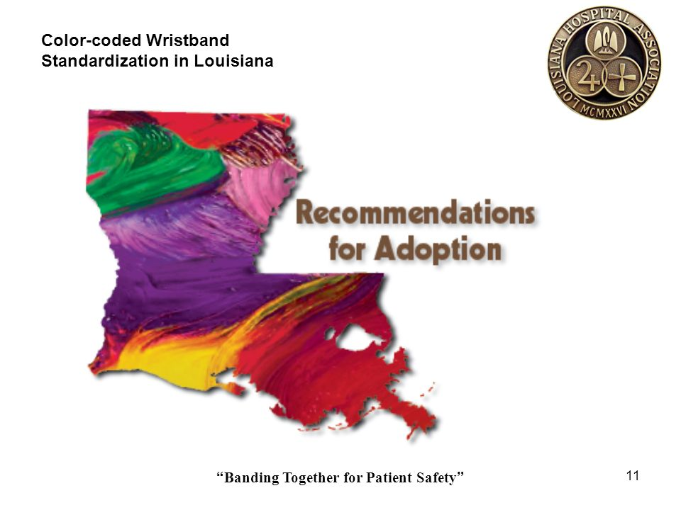 Banding Together for Patient Safety 11 Color-coded Wristband Standardization in Louisiana