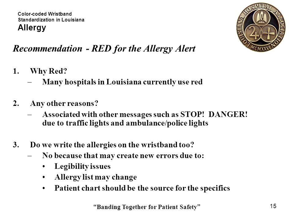 Banding Together for Patient Safety 15 Color-coded Wristband Standardization in Louisiana Allergy Recommendation - RED for the Allergy Alert 1.Why Red