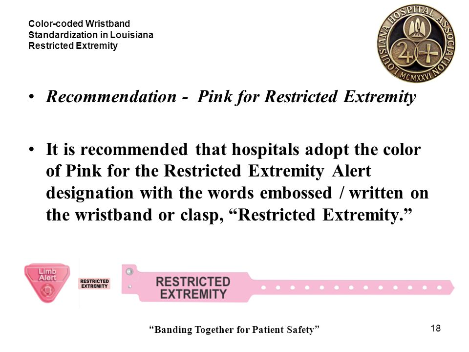 Banding Together for Patient Safety 18 Color-coded Wristband Standardization in Louisiana Restricted Extremity Recommendation - Pink for Restricted Ex