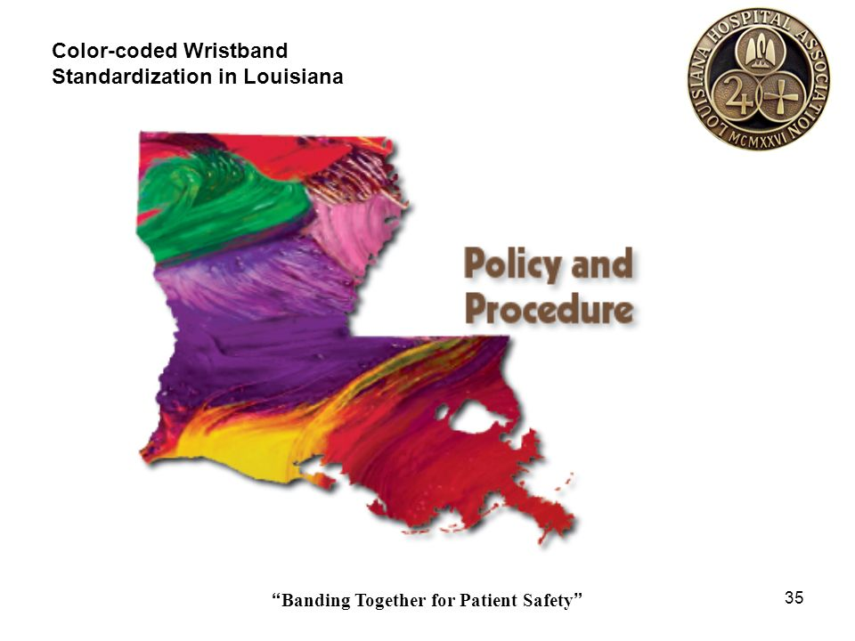 Banding Together for Patient Safety 35 Color-coded Wristband Standardization in Louisiana