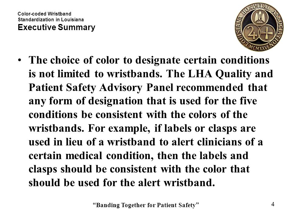 Banding Together for Patient Safety 25 Color-coded Wristband Standardization in Louisiana Sample Task Chart