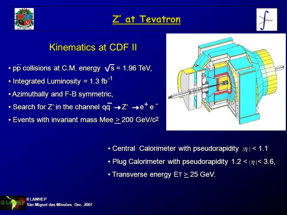 II LAWHEP São Miguel das Missões, Dec. 2007 Z at Tevatron Kinematics at CDF II pp collisions at C.M. energy s = 1.96 TeV, pp collisions at C.M. energy