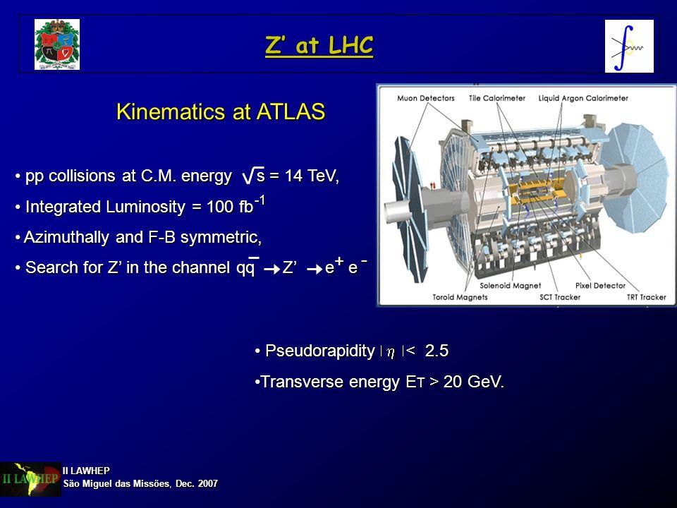 II LAWHEP São Miguel das Missões, Dec. 2007 Z at LHC Kinematics at ATLAS pp collisions at C.M. energy s = 14 TeV, pp collisions at C.M. energy s = 14