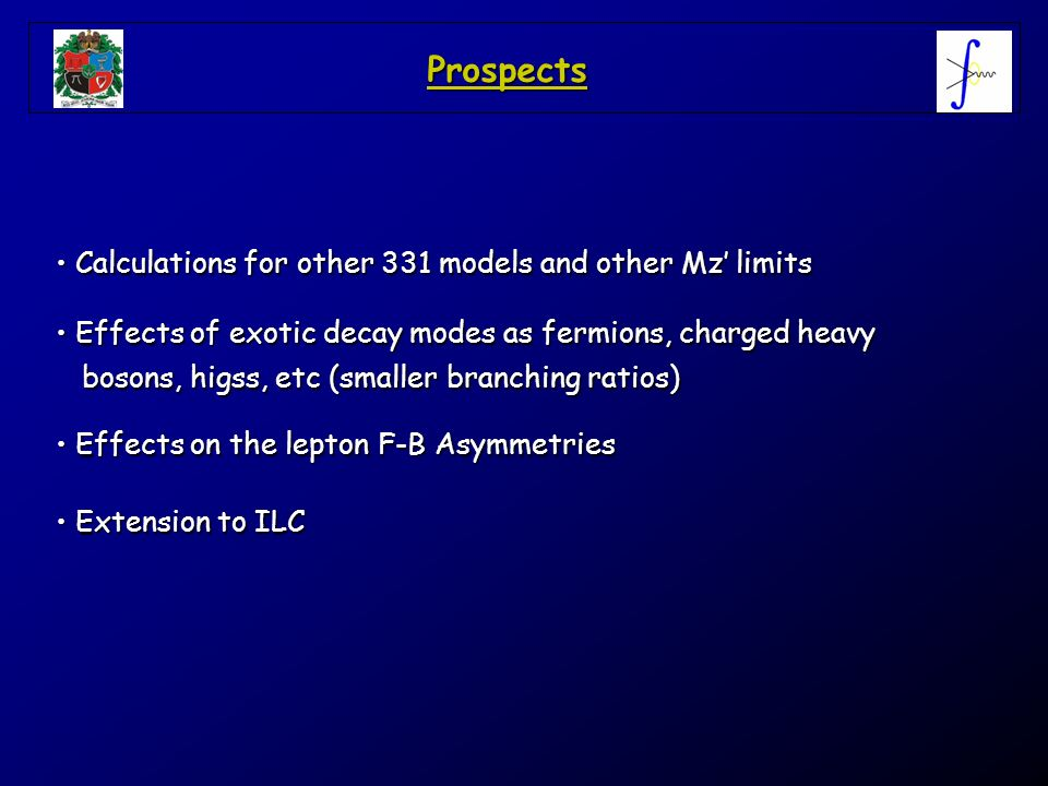 Prospects Calculations for other 331 models and other Mz limits Calculations for other 331 models and other Mz limits Effects of exotic decay modes as
