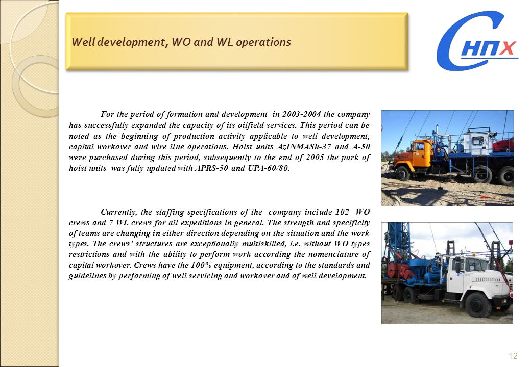 12 Well development, WO and WL operations For the period of formation and development in 2003-2004 the company has successfully expanded the capacity