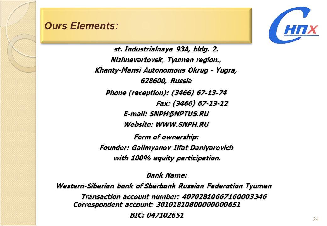 24 Ours Elements: st. Industrialnaya 93A, bldg. 2. Nizhnevartovsk, Tyumen region., Khanty-Mansi Autonomous Okrug - Yugra, 628600, Russia Phone (recept