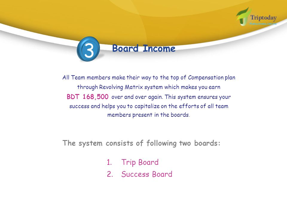 All Team members make their way to the top of Compensation plan through Revolving Matrix system which makes you earn BDT 168,500 over and over again.
