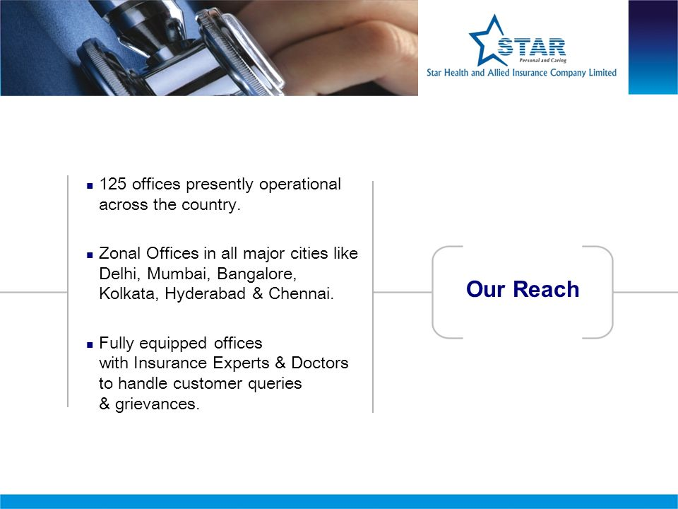 125 offices presently operational across the country. Zonal Offices in all major cities like Delhi, Mumbai, Bangalore, Kolkata, Hyderabad & Chennai. F