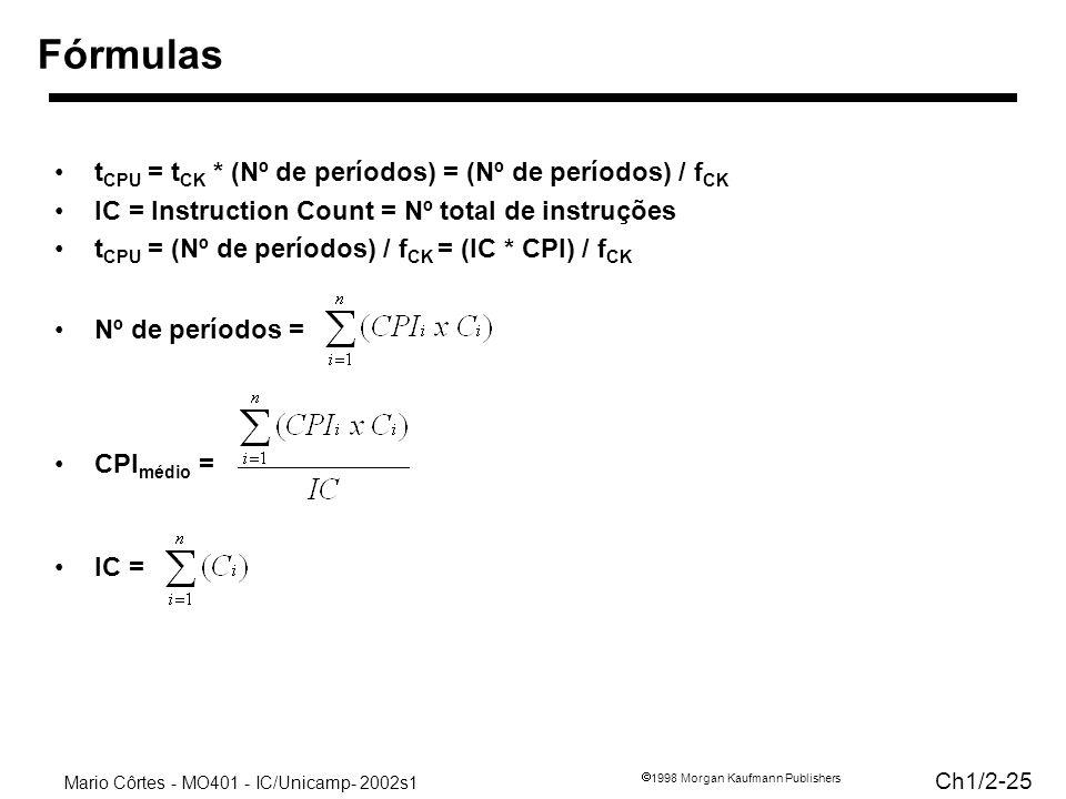 Mario Côrtes - MO401 - IC/Unicamp- 2002s1 Ch1/2-25 1998 Morgan Kaufmann Publishers Fórmulas t CPU = t CK * (Nº de períodos) = (Nº de períodos) / f CK IC = Instruction Count = Nº total de instruções t CPU = (Nº de períodos) / f CK = (IC * CPI) / f CK Nº de períodos = CPI médio = IC =