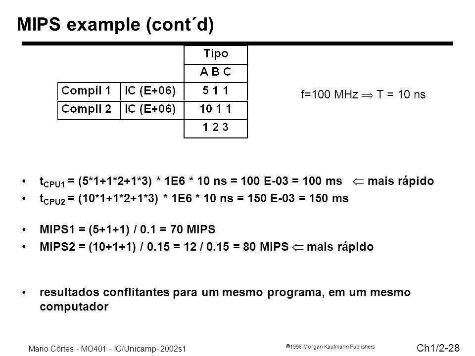 Mario Côrtes - MO401 - IC/Unicamp- 2002s1 Ch1/2-28 1998 Morgan Kaufmann Publishers MIPS example (cont´d) t CPU1 = (5*1+1*2+1*3) * 1E6 * 10 ns = 100 E-03 = 100 ms mais rápido t CPU2 = (10*1+1*2+1*3) * 1E6 * 10 ns = 150 E-03 = 150 ms MIPS1 = (5+1+1) / 0.1 = 70 MIPS MIPS2 = (10+1+1) / 0.15 = 12 / 0.15 = 80 MIPS mais rápido resultados conflitantes para um mesmo programa, em um mesmo computador f=100 MHz T = 10 ns