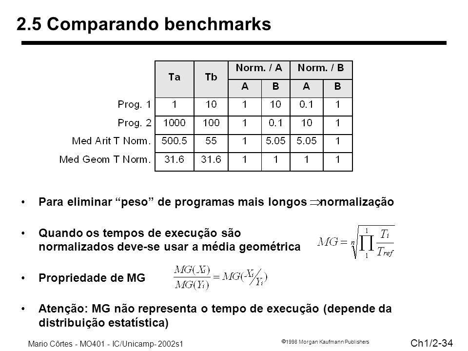 Mario Côrtes - MO401 - IC/Unicamp- 2002s1 Ch1/2-34 1998 Morgan Kaufmann Publishers 2.5 Comparando benchmarks Para eliminar peso de programas mais longos normalização Quando os tempos de execução são normalizados deve-se usar a média geométrica Propriedade de MG Atenção: MG não representa o tempo de execução (depende da distribuição estatística)