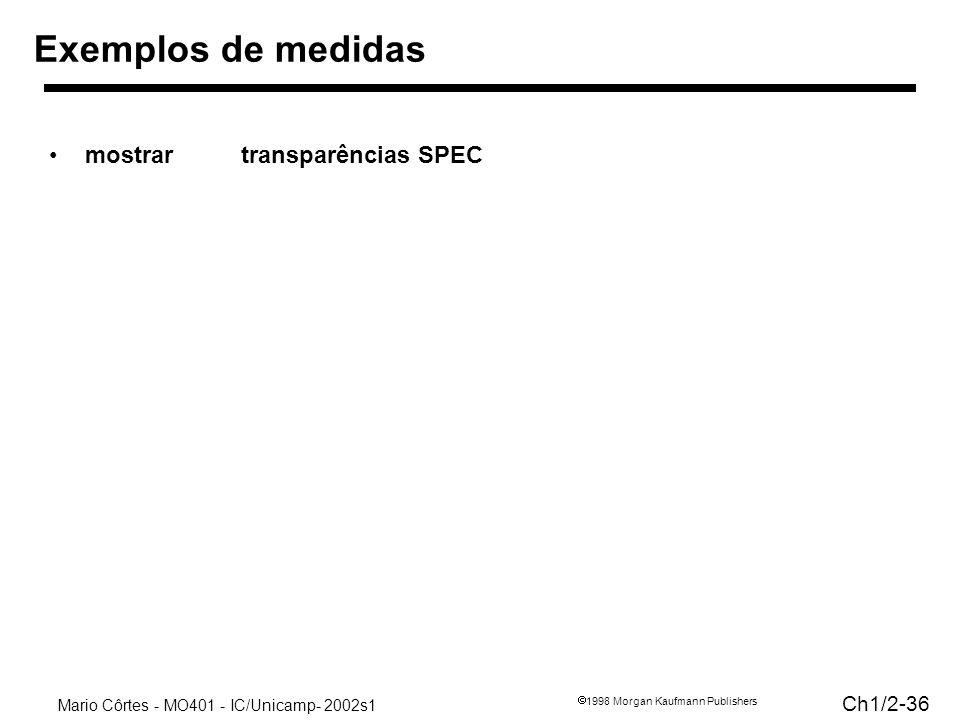 Mario Côrtes - MO401 - IC/Unicamp- 2002s1 Ch1/2-36 1998 Morgan Kaufmann Publishers Exemplos de medidas mostrartransparências SPEC