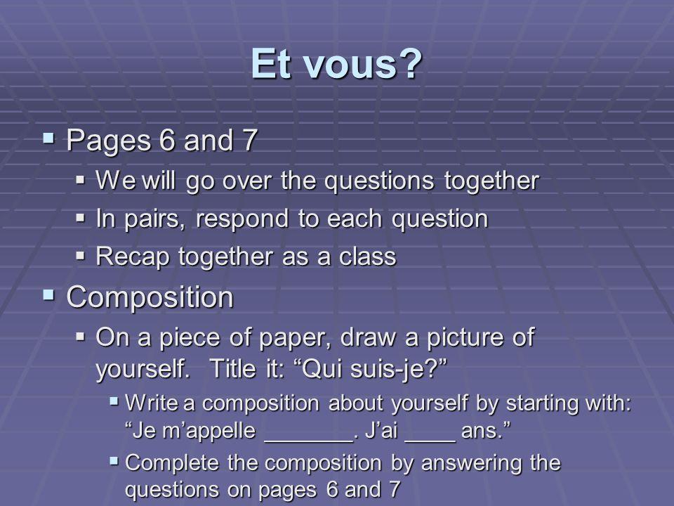 Faisons connaissance. Pages 4 and 5 Pages 4 and 5 À quelle école vas-tu.