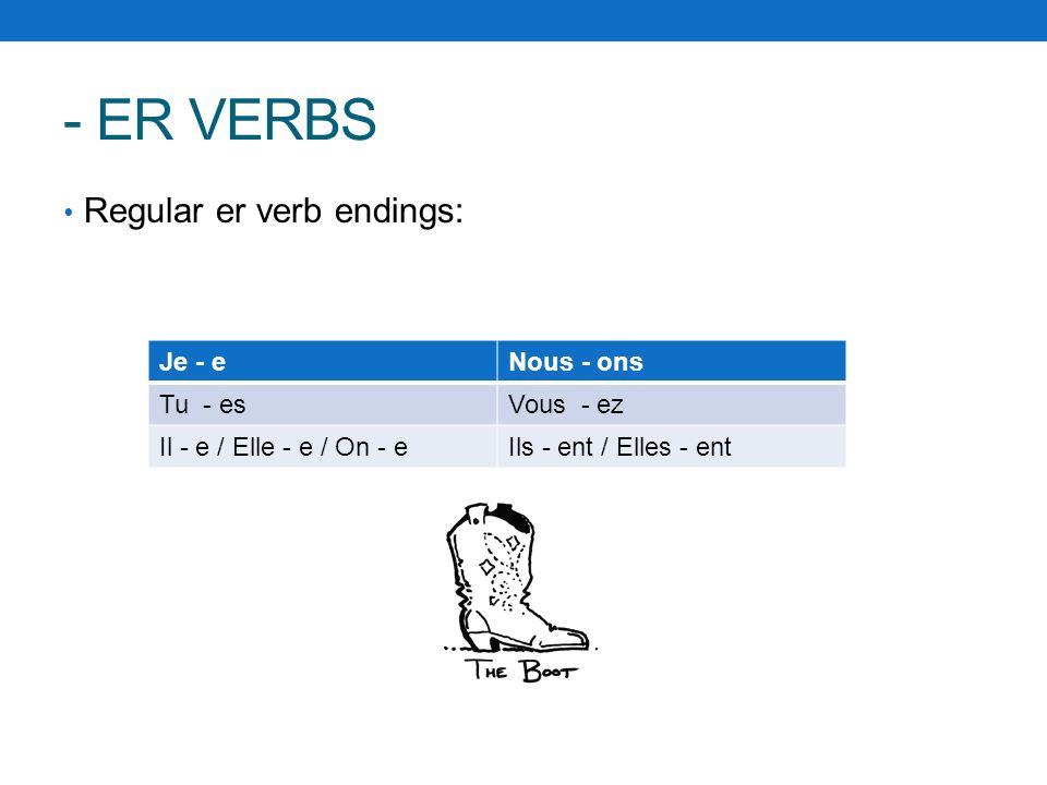 - ER VERBS Regular er verb endings: Je - eNous - ons Tu - esVous - ez Il - e / Elle - e / On - eIls - ent / Elles - ent