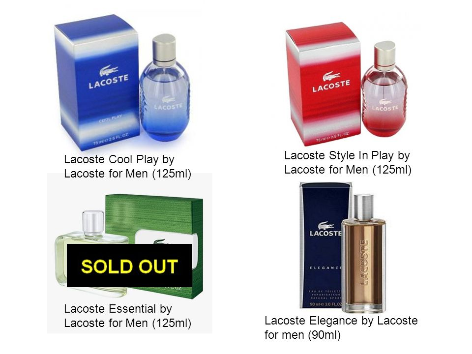Lacoste Style In Play by Lacoste for Men (125ml) Lacoste Cool Play by Lacoste for Men (125ml) Lacoste Essential by Lacoste for Men (125ml) Lacoste Ele
