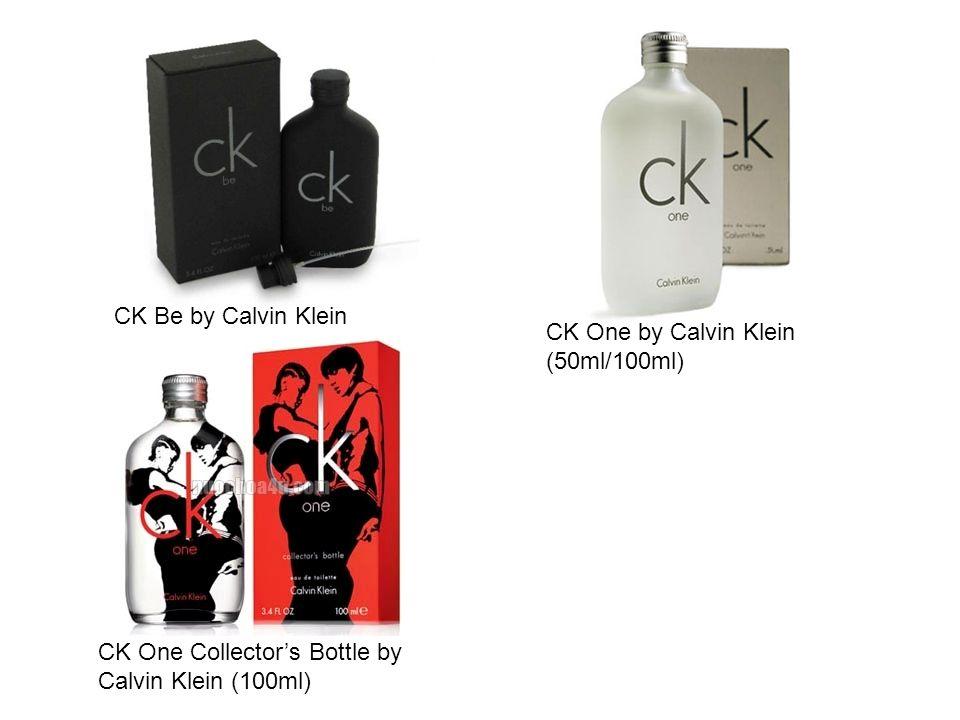 CK Be by Calvin Klein (50ml/100ml) CK One by Calvin Klein (50ml/100ml) CK One Collectors Bottle by Calvin Klein (100ml)