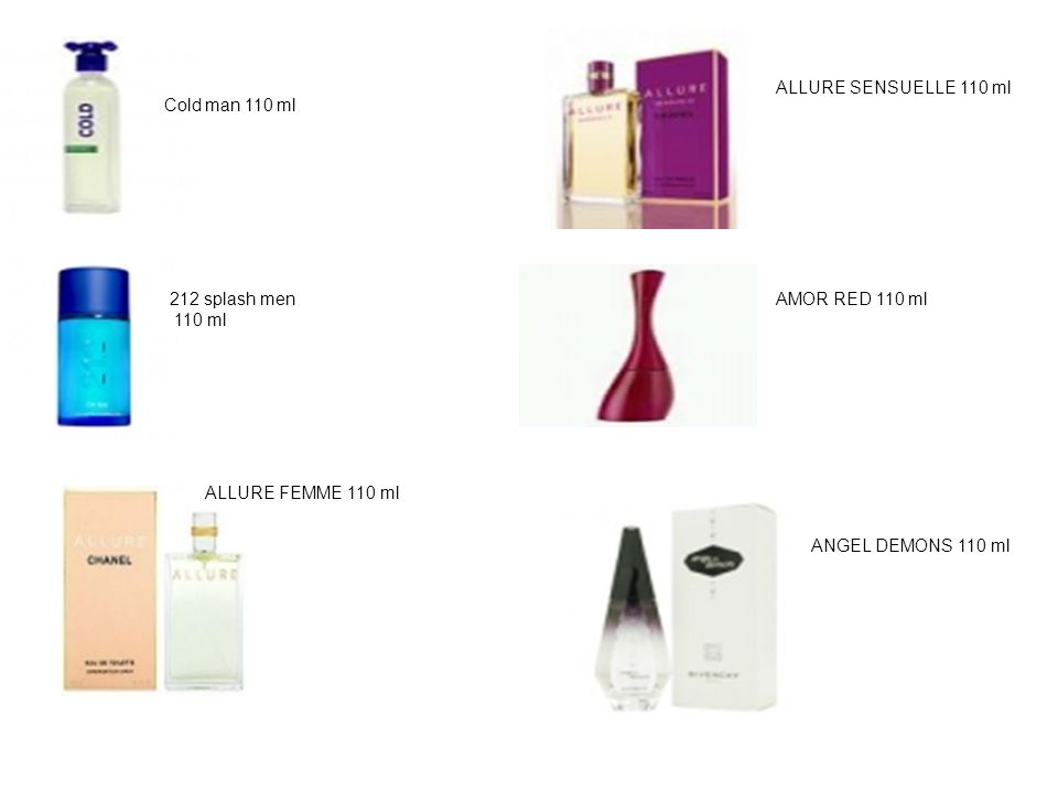 Cold man 110 ml 212 splash men 110 ml ALLURE FEMME 110 ml ALLURE SENSUELLE 110 ml AMOR RED 110 ml ANGEL DEMONS 110 ml