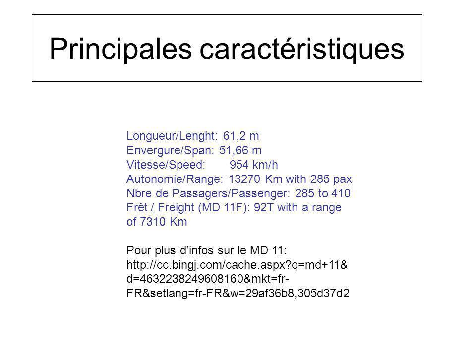 Longueur/Lenght: 61,2 m Envergure/Span: 51,66 m Vitesse/Speed: 954 km/h Autonomie/Range: 13270 Km with 285 pax Nbre de Passagers/Passenger: 285 to 410 Frêt / Freight (MD 11F): 92T with a range of 7310 Km Pour plus dinfos sur le MD 11: http://cc.bingj.com/cache.aspx?q=md+11& d=4632238249608160&mkt=fr- FR&setlang=fr-FR&w=29af36b8,305d37d2 Principales caractéristiques