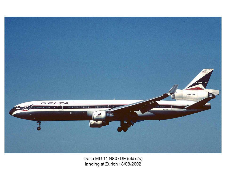 Delta MD 11 N807DE (old c/s) landing at Zurich 18/08/2002