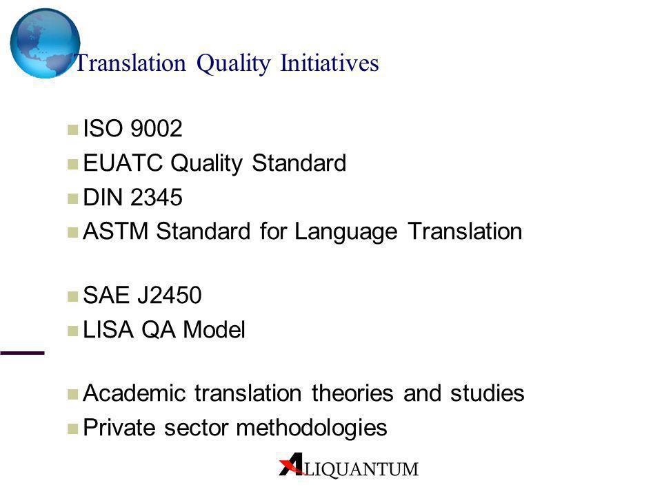 ISO 9002 EUATC Quality Standard DIN 2345 ASTM Standard for Language Translation SAE J2450 LISA QA Model Academic translation theories and studies Priv