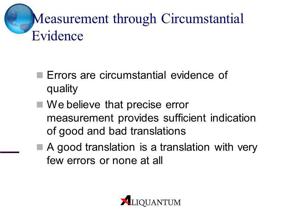 Measurement through Circumstantial Evidence Errors are circumstantial evidence of quality We believe that precise error measurement provides sufficien