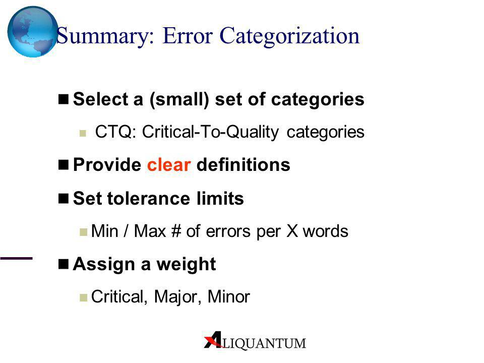 Summary: Error Categorization Select a (small) set of categories CTQ: Critical-To-Quality categories Provide clear definitions Set tolerance limits Mi