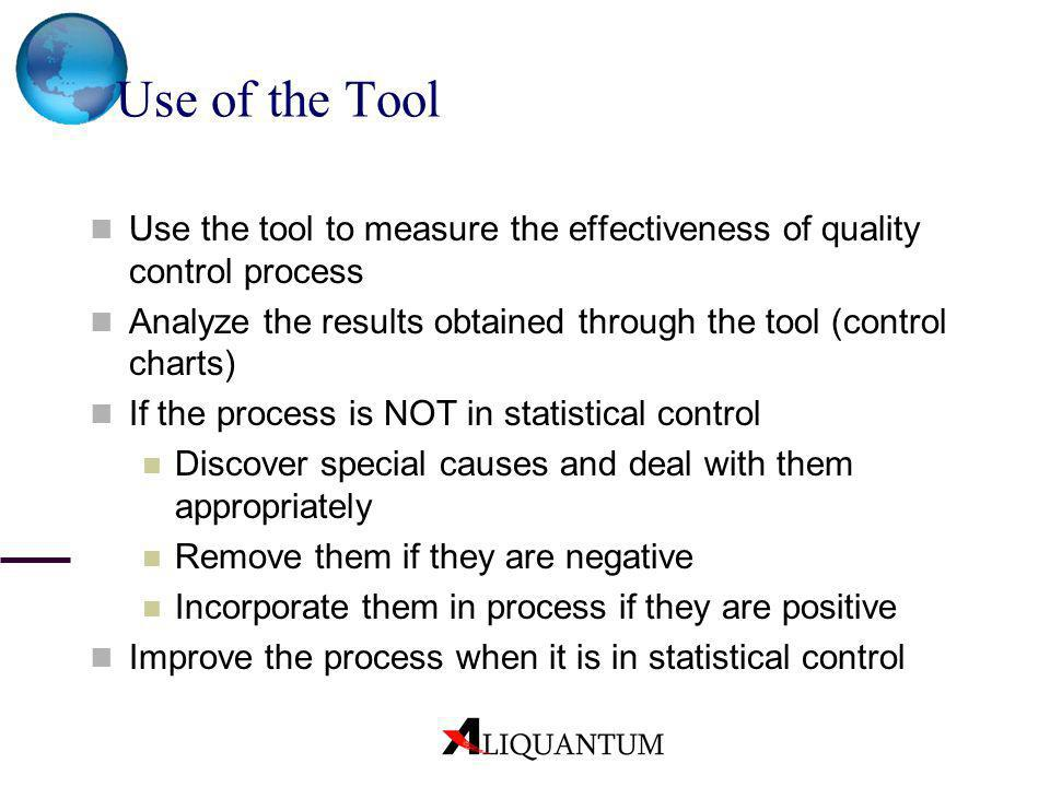 Use of the Tool Use the tool to measure the effectiveness of quality control process Analyze the results obtained through the tool (control charts) If