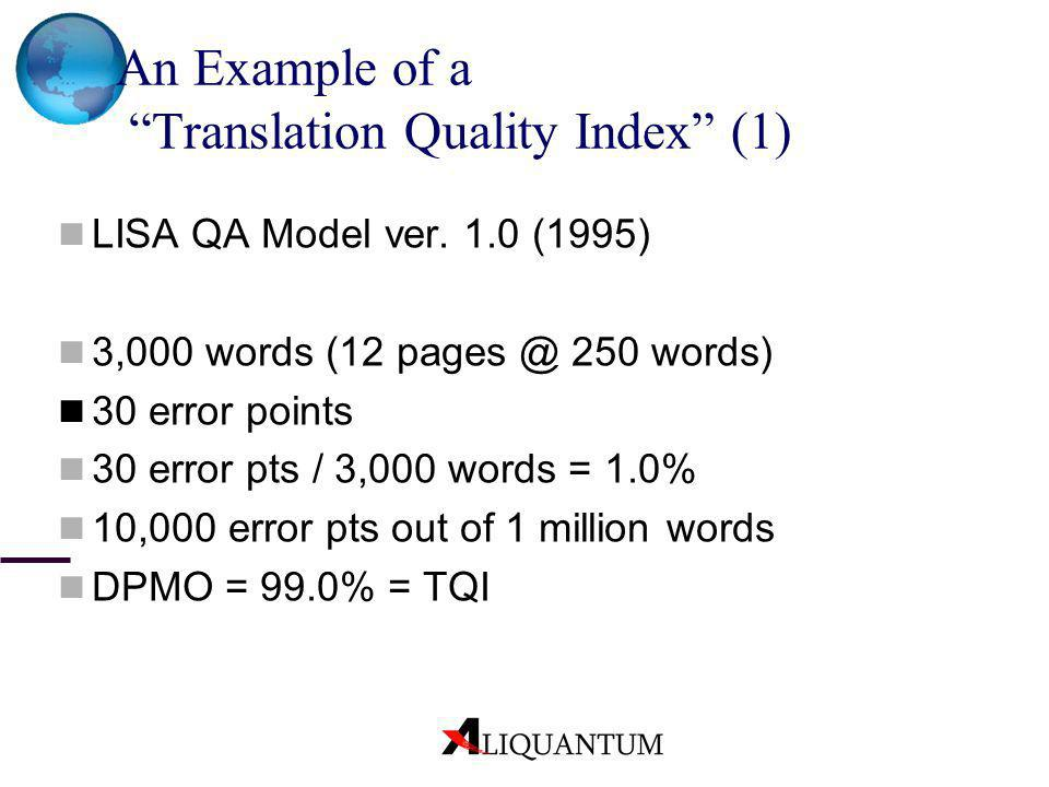 An Example of a Translation Quality Index (1) LISA QA Model ver. 1.0 (1995) 3,000 words (12 pages @ 250 words) 30 error points 30 error pts / 3,000 wo