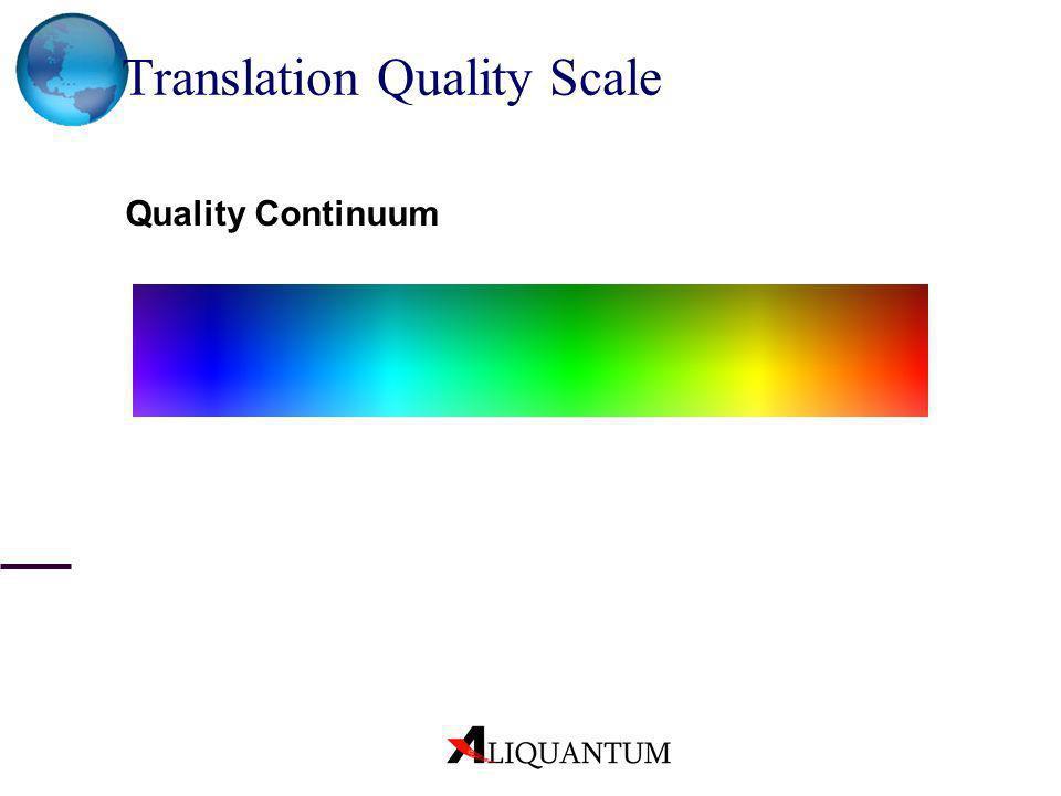 Translation Quality Scale Quality Continuum