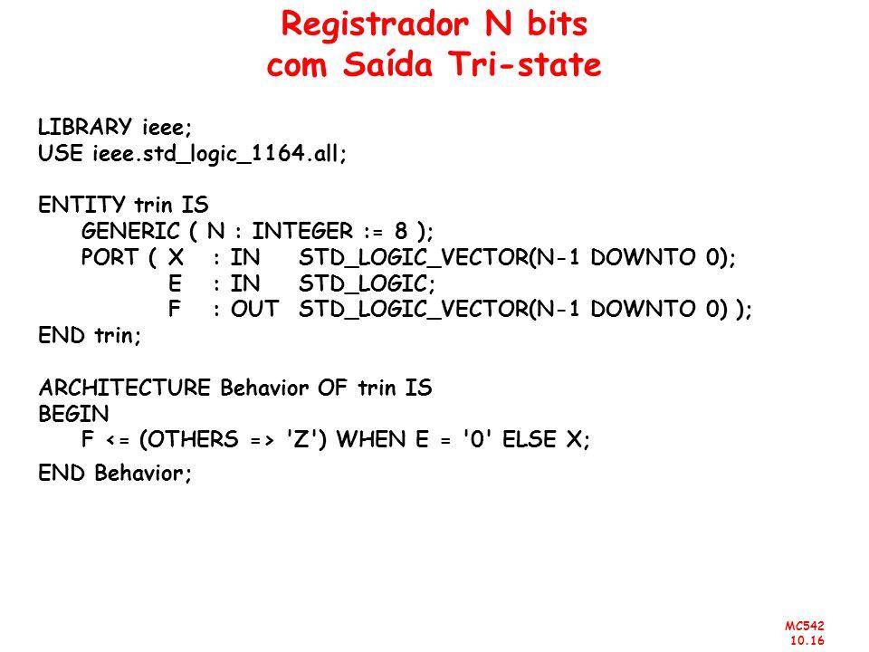 MC542 10.16 Registrador N bits com Saída Tri-state LIBRARY ieee; USE ieee.std_logic_1164.all; ENTITY trin IS GENERIC ( N : INTEGER := 8 ); PORT (X : I