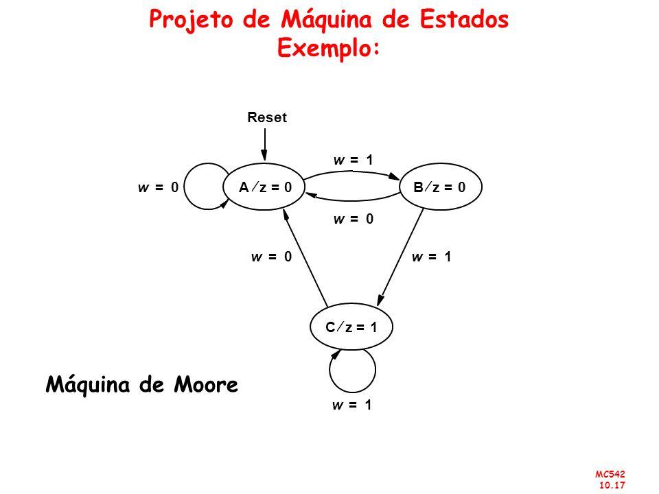 MC542 10.17 Projeto de Máquina de Estados Exemplo: Cz1= Reset Bz0= Az0= w0= w1= w1= w0= w0= w1= Máquina de Moore