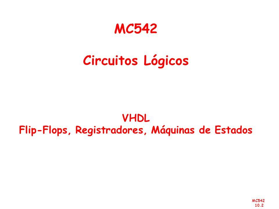 MC542 10.2 MC542 Circuitos Lógicos VHDL Flip-Flops, Registradores, Máquinas de Estados