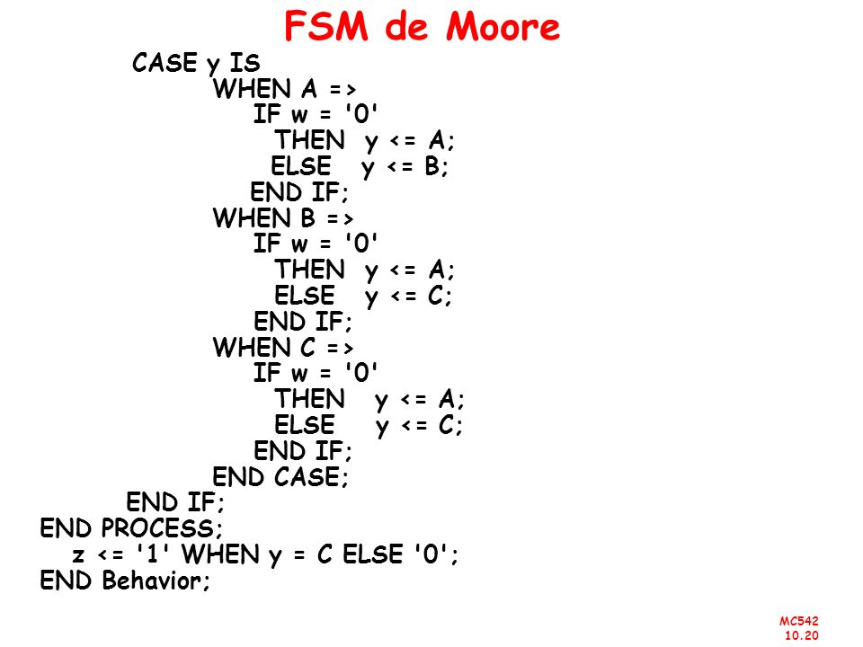 MC542 10.20 FSM de Moore CASE y IS WHEN A => IF w = '0' THEN y <= A; ELSE y <= B; END IF; WHEN B => IF w = '0' THEN y <= A; ELSE y <= C; END IF; WHEN