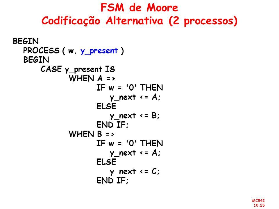 MC542 10.25 FSM de Moore Codificação Alternativa (2 processos) BEGIN PROCESS ( w, y_present ) BEGIN CASE y_present IS WHEN A => IF w = '0' THEN y_next