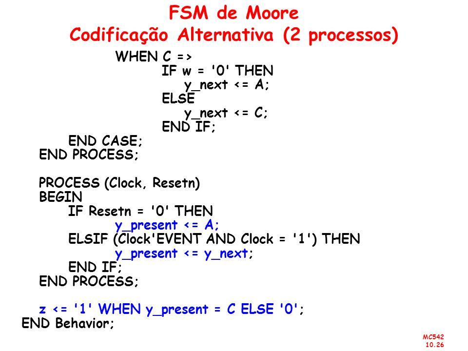 MC542 10.26 FSM de Moore Codificação Alternativa (2 processos) WHEN C => IF w = '0' THEN y_next <= A; ELSE y_next <= C; END IF; END CASE; END PROCESS;