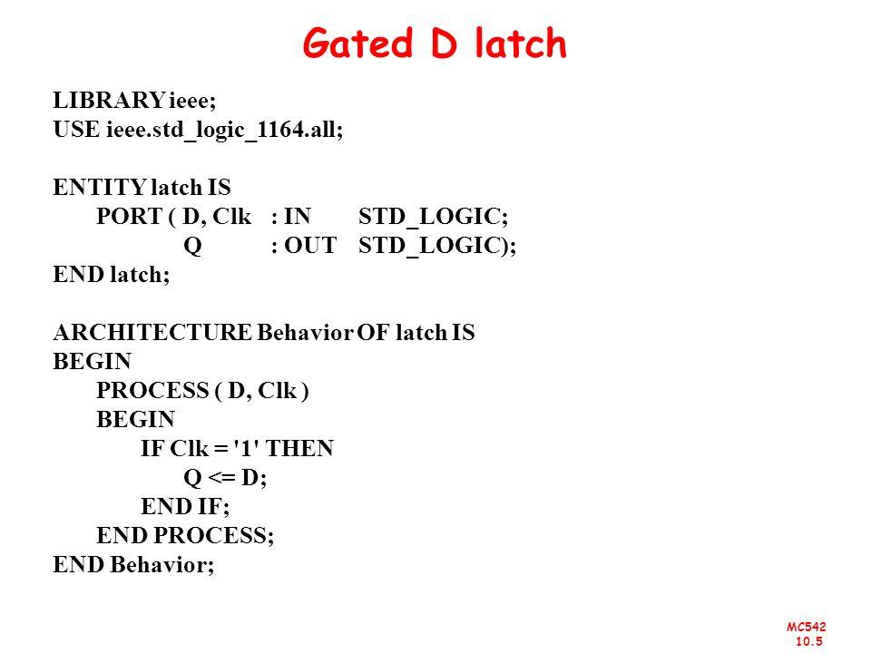MC542 10.5 Gated D latch LIBRARY ieee; USE ieee.std_logic_1164.all; ENTITY latch IS PORT ( D, Clk : IN STD_LOGIC; Q : OUT STD_LOGIC); END latch; ARCHI