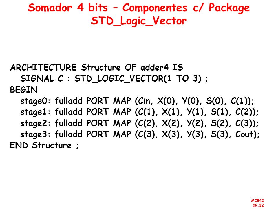 MC542 09.12 Somador 4 bits – Componentes c/ Package STD_Logic_Vector ARCHITECTURE Structure OF adder4 IS SIGNAL C : STD_LOGIC_VECTOR(1 TO 3) ; BEGIN s