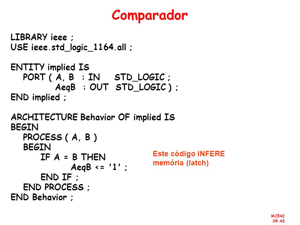 MC542 09.43 Comparador LIBRARY ieee ; USE ieee.std_logic_1164.all ; ENTITY implied IS PORT ( A, B : IN STD_LOGIC ; AeqB : OUT STD_LOGIC ) ; END implie