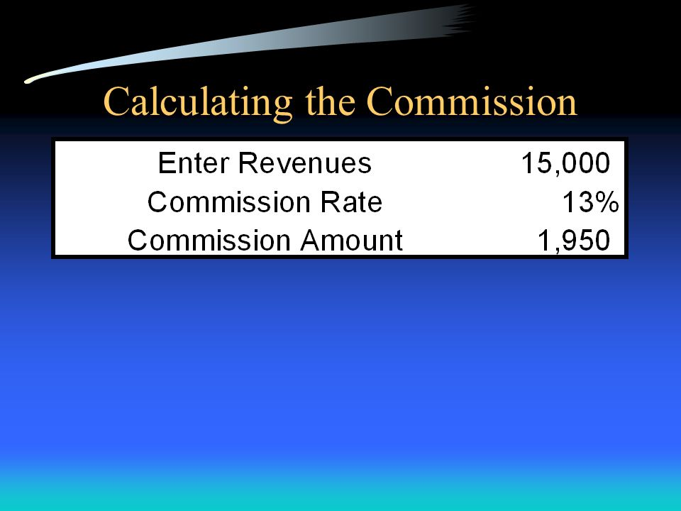 Calculating the Commission