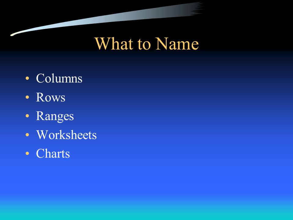 What to Name Columns Rows Ranges Worksheets Charts